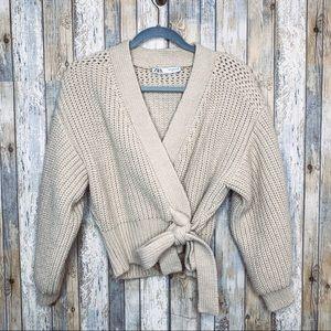 Zara Knit Beige Belted Wrap Cardigan